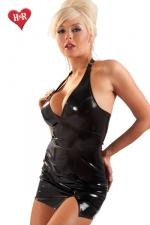 Robe fendue Extase - Mini robe en vinyle dos nu tr�s sensuelle avec sa fente sexy sur le haut de la cuisse.